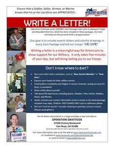 "Take five minutes to write a letter to say, ""THANKS for your service!"" http://www.operationgratitude.com/get-involved/write-letters/"