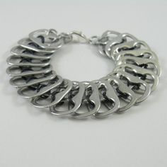 pop tab bracelet  black chainmaille in the middle~~