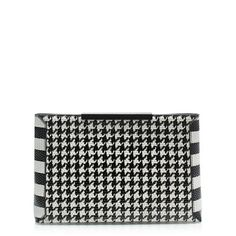 TEXTURED LEATHER HOUNDSTOOTH CLUTCH
