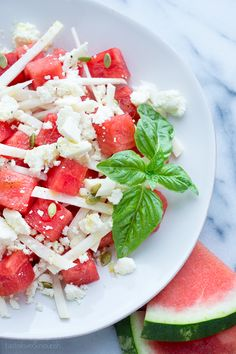 Watermelon Jicama Salad with Queso Fresco and Honey-Lime Vinaigrette | www.tasteloveandnourish.com | #watermelon #jicama #salad #quesofresco #summer #light #healthy #refreshing