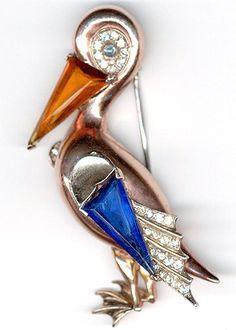 Trifari Sterling 'Alfred Philippe' Sapphire and Topaz Pelican Pin Clip