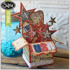 Sizzix Die Cutting Tutorial | Patriotic Stars Pop-Up Box Card by Hilary Kanwischer
