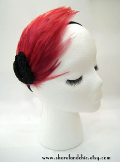 Red feather headband flapper style Art deco by ShorelandChic, $25.00