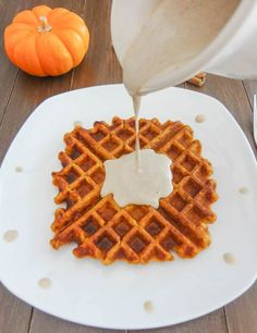 Pumpkin Spice Waffles with Maple Cashew Sauce | One Ingredient Chef