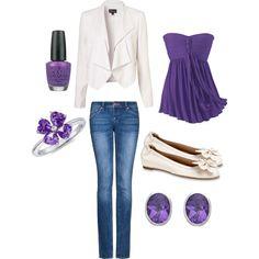 <3 casual fashion, white shoes, purple jean outfits, purple outfit, handbag purs, closet, accessories, fashion handbags, purpl outfit