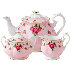 Royal Albert   New Country Roses Pink 3 Piece Set- Teapot, Covered Sugar and Creamer