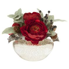 Threshold™ Ranunculus and Berry Tabletop Arrangement in Mercury Glass Vase - 8""