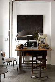 #office #industrial #chairs #lamp #stool #desk #white #concrete #chalk #board