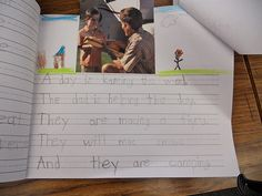pictures cut from magazines. Kids have to write/predict what is happening in the picture. LOVE! My kids need so much help with sentence structure and thinking of ideas! I will be on the hunt for pictures!