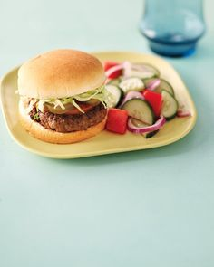 Taco Burgers with Cucumber Salad