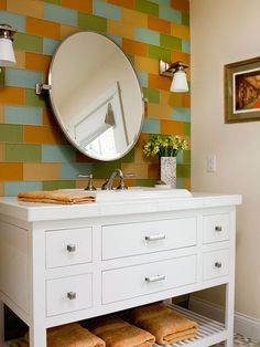 Jazz up a bath with a bold tiled wall. See more small-space bathroom ideas: http://www.bhg.com/bathroom/small/small-bathroom-decorating-ideas/?socsrc=bhgpin042313tilewall=14