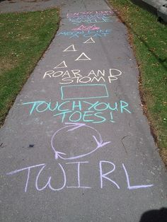 Sidewalk twister- a simple way to keep kids moving, laughing, and having fun!