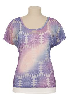 Scoop Neck Ombre Lace Top available at #Maurices