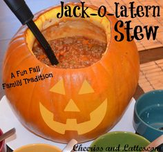 Jack-o-lantern Stew; our Halloween night family tradition! A perfect healthy stew for your kiddos before you send them out to collect candy!