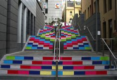 Yarn bombing a staircase! Very cool effect. #stairs #stairway #color #yarn
