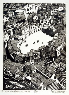 Piazza Amfiteatro Lucca by Di Oliver - Linocut  Edition of 25