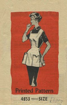 Vintage Apron Sewing Pattern | Mail Order 4853 | Year 195? | Size Large 18-20 | Bust 38-40 | Waist 30-32 | Hip 40-42 vintag apron, smockcobbl apron, cobbler apron, aprons, apron sew, vintage patterns, sew pattern, sewing patterns, apron pattern