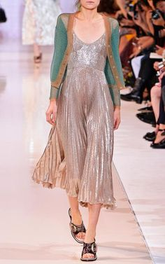 Silk Lurex Plisse Slip Dress by Rochas for Preorder on Moda Operandi