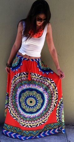 This patterned maxi with a simple white tank is everything! LOVE IT!