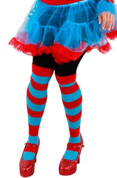 Dr Seuss Thing 1 and Thing 2 Striped Knee Highs
