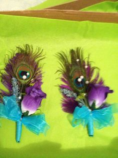 My DIY peacock corsages