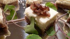 Gorgonzola Cheese Cake Bite with Walnut Graham Cracker Crust and Agave Chestnuts