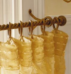 Yellow Drapery Panel with Wooden Hardware