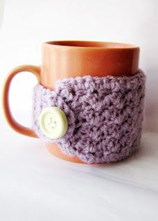 Free Crochet Easy Coffee Mug Cozy pattern and other knitting and crochet gift ideas @savedbyloves