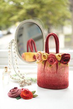 Wow - stunning felt handbag mirror, purs, knitted felted bags, felt bags, felt handbag