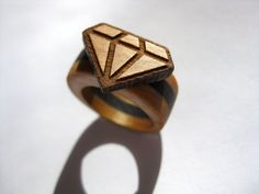 The Wood Diamond Ring by micklish on Etsy, $120.00