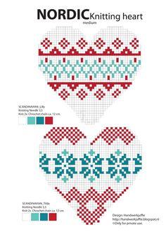 dibujos para tejer - Nordic Knitting Heart pattern by Handwerkjuffie. Or cross stitch pattern.