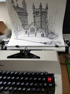 Kiera Rathbone - typewriter artist. Good examples for pen & ink drawings/using symbols/words to draw. This webpage has other photos of her work as well as a link to her website.