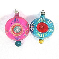 Fancy Poland Pink Blue Double Finial Indent Christmas Ornaments