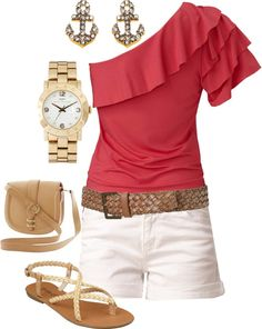 accent: coral, color pop, sandals, loose top, shorts #spring #casual #outfits