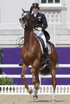 Karen O'Connor (sister-in-law of Heather Lende) aboard Mr. Medicott, July 28, 2012, U.S. Eventing Dressage Riders In Action - Equestrian Slideshows | NBC Olympics
