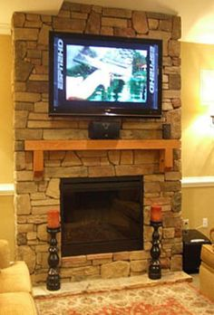 TV Mounted Above Fireplace Mantel Fireplace Ideas