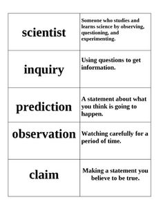 9 science vocabulary word cards with matching definitions.  Useful for lower elementary students....