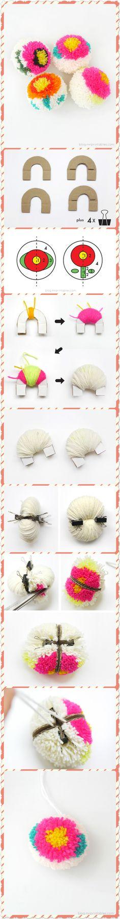 Making Flower Pom-poms with a DIY Pom-pom maker.  Click www.welikecraft.com for more craft ideas!