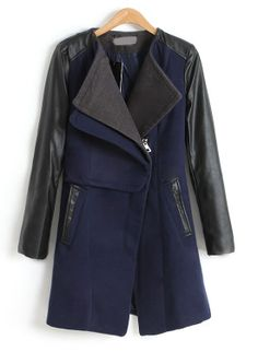 Navy Contrast PU Leather Long Sleeve Pockets Coat US$46.89