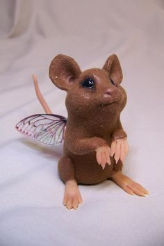 ooak polymer clay handsculpted Fantasy fairy mouse rat art doll sculpture by Kate Sjoberg