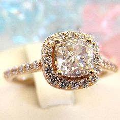 #ROSE GOLD ENGAGEMENT RING   2 ct.   Special $599.00 #cushion engagment ring #halo engagement ring