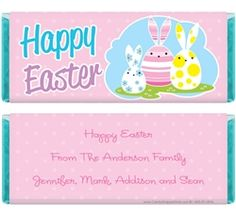 Cute Decorated Bunny Easter Eggs Candy Wrappers for 1.55 oz Hersheys Candy Wrappers