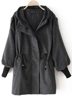 Grey Trumpet Sleeve Drawstring Waist Hooded Coat