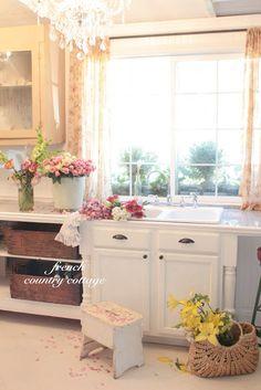 cottag kitchen, guest cottage, open shelves, country cottages, french country, kitchen sinks, cottage kitchens, open shelving, vintage inspired