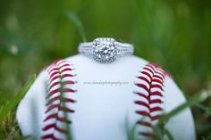 Love the idea - and her ring!  Her ring, his baseball!  Lovely idea for baseball players.