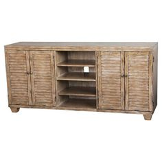 Weathered 4-door credenza with open shelving.   Product: CredenzaConstruction Material: Wood composites and sel...