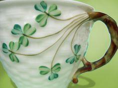 Antique Belleek Shamrock Basketweave Teacup - Old Black Mark Irish Parian Porcelain - Hand Painted Vintage China St Patrick's Day Tea Cup. via Etsy.