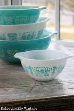 Decorate using #vintage Pyrex Butterprint patterned bowls to add charm and uniqeness to your space. eclecticallyvintage.com