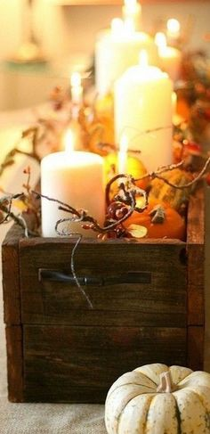 wood tabl, fall table, diy crafts, fall decorations, wood boxes, wooden boxes, tabl box, candle centerpieces, table centerpieces