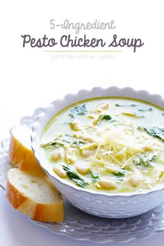 5-Ingredient Pesto Chicken Soup -- seriously one of the best soups I've ever had, and it's super easy! | gimmesomeoven.com #soup